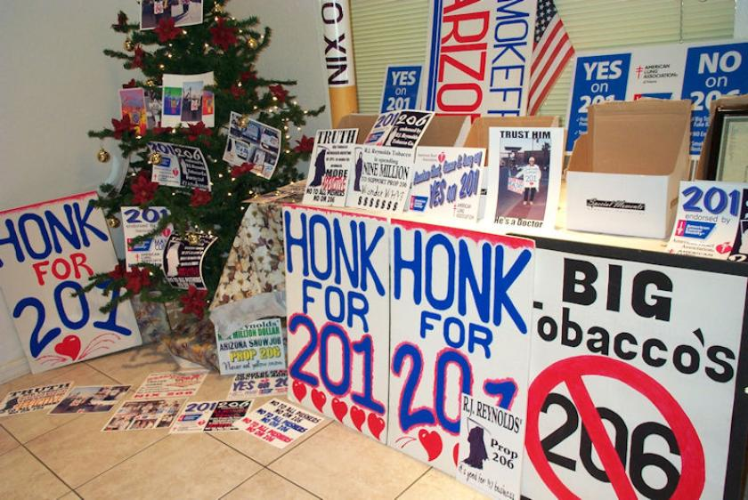 A variety of signs and posters used in successful Prop 201 campaign